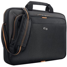 "Solo 15.6"" Laptop Slim Briefcase - Black/Orange"