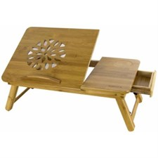 Bamboo Wooden Laptop Desk Serving with Drawer, 1 x Large Cooling Fan (Large Size)