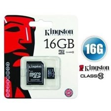 Kingston 16GB microSDHC Flash Card + SD Adapter Model SDC10G2/16GB