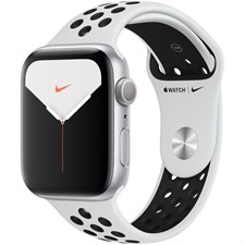 Apple Watch Series 5 (Nike+/GPS Only, 44mm, Silver Aluminum, Pure Platinum/Black Nike Sport Band), MX3V2