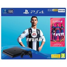 Sony Playstation 4 Slim 500GB Console with FIFA 19 Bundle, CUH-2216A, HDR, PS VR Ready, Jet Black, PS4