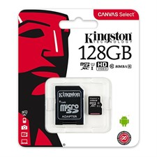 Kingston SDCS/128GB Canvas Select 128GB microSD Card Class 10