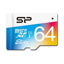 Silicon Power 64GB MicroSDHC UHS-1 Class10, Elite Flash Memory Card with Adapter, SP064GBSTXBU1V20SP