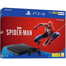 Sony Playstation 4 500GB Console with Marvel's Spider-Man, CUH-2216A, HDR, PS VR Ready, Jet Black, PS4