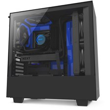 NZXT H500 Compact Mid-Tower Case with Tempered Glass - Matte Black + Blue