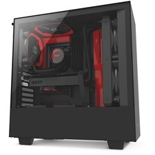 NZXT H500 Compact Mid-Tower Case with Tempered Glass - Matte Black + Red