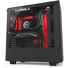 NZXT H500i Compact Mid-Tower Case with Lighting and Fan Control - Matte Black + Red