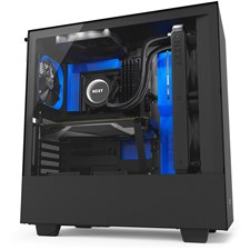 NZXT H500i Compact Mid-Tower Case with Lighting and Fan Control - Matte Black + Blue