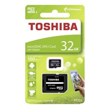 Toshiba M203 High Speed microSDHC UHS-I Card With Adapter, 32GB, Black, THN-M203K0320EA