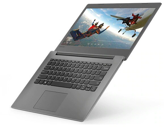 Lenovo Ideapad 130 (14), right top view, open 180 degrees