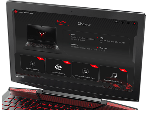 Lenovo Legion Y720 Display Featuring Lenovo Nerve Center Application