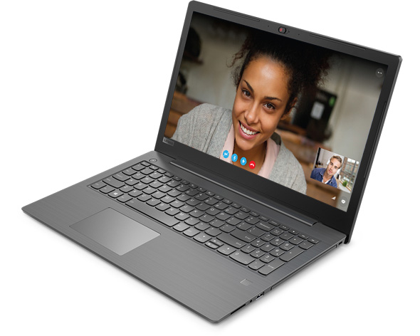 Lenovo V330 (15) front right side view featuring video chat