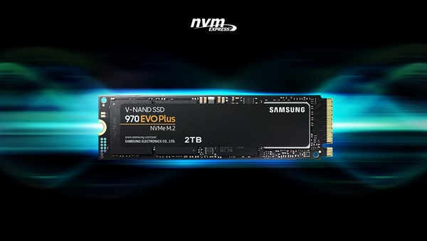 nvm EXPRESS logo and front view of 970 EVO Plus over blue and green light effect